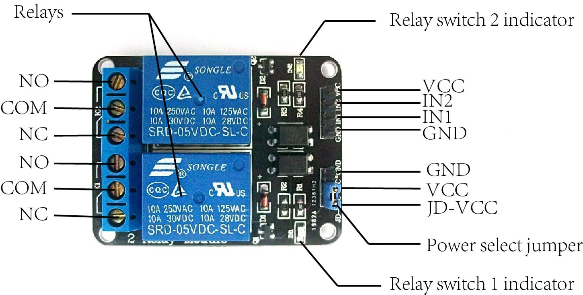 Modulo Relay Arduino 2 Canales 5v 10a Optoacoplado Starware